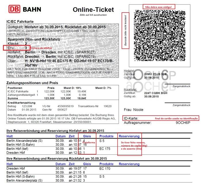 Bilhete de trem alemanha Deutsche bahn identificando