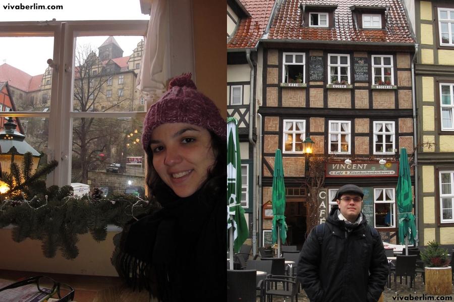 Nicole dentro e Pacelli à frente do Café Vincent