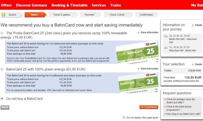 Como comprar passagem de trem na Alemanha - tela bahncard